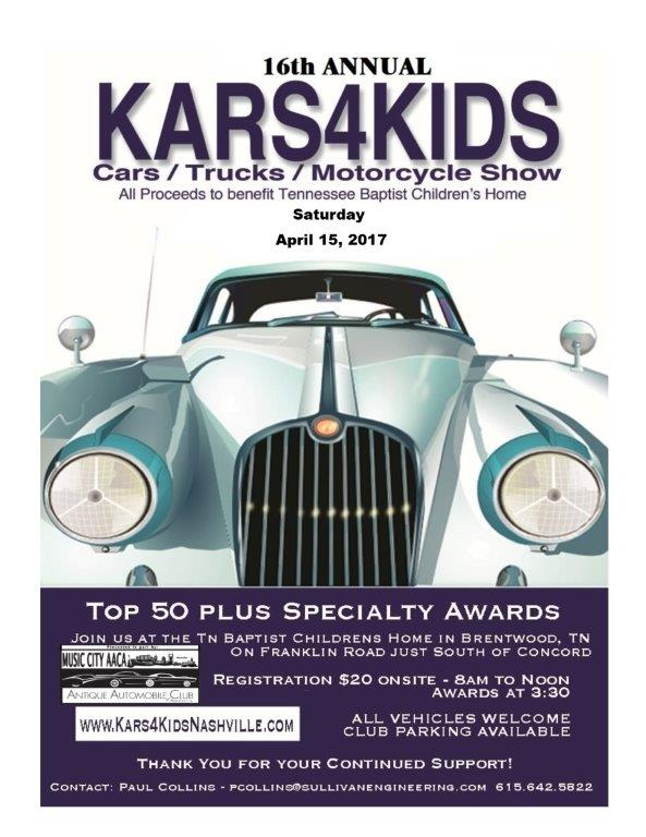KARS4KIDS Car, Truck and Motorcycle Show @ TN Baptist Children's Home | Brentwood | Tennessee | United States
