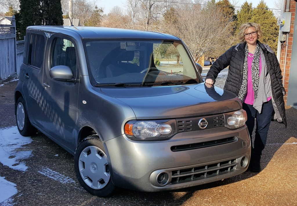 Amy Wilson and her Nissan Cube