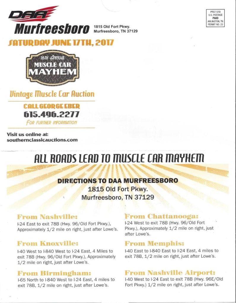 Muscle Car Mayhem Auction @ DAA Murfreesboro | Murfreesboro | Tennessee | United States