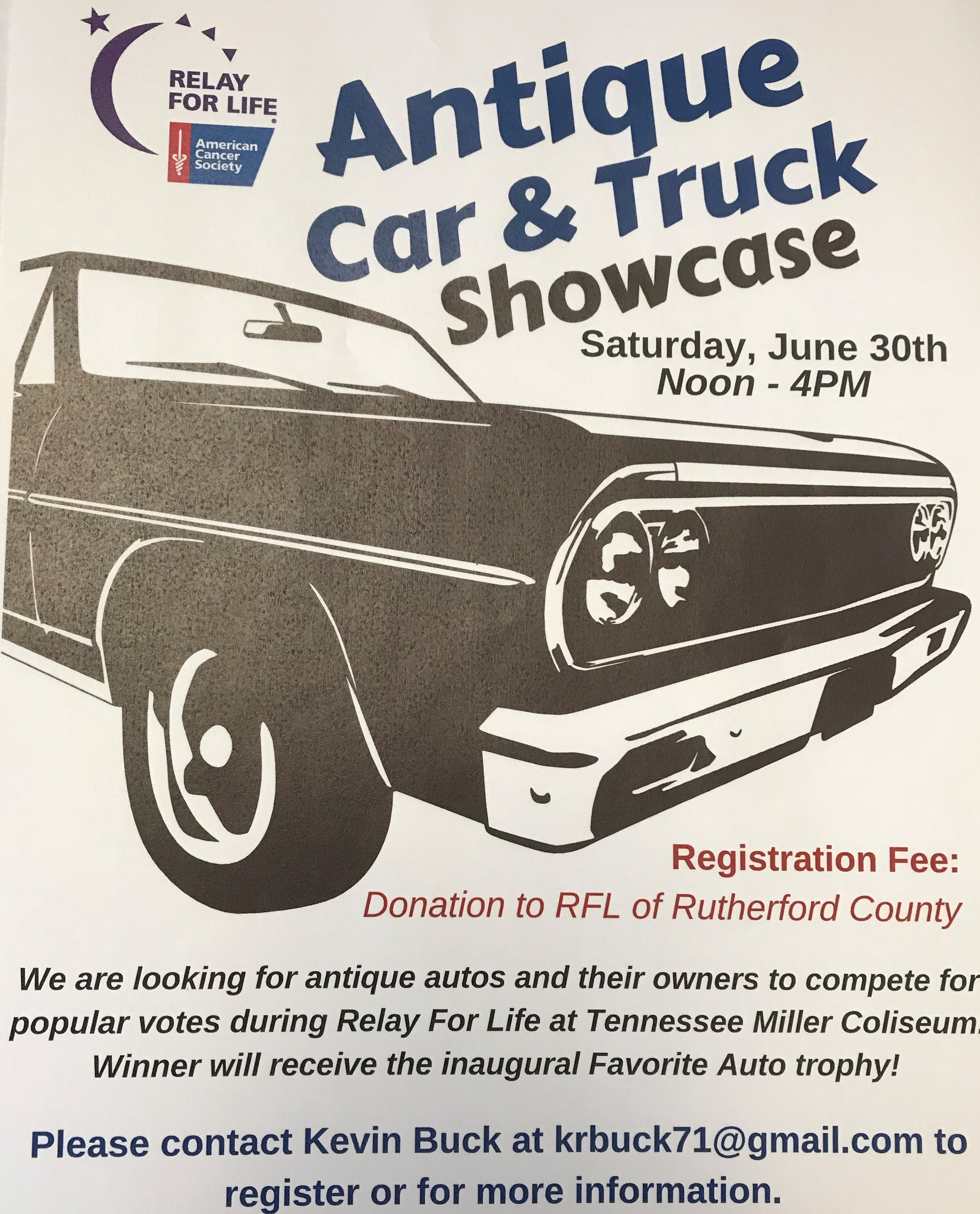 Relay For Life Antique Car and Truck Showcase - Honk, Rattle & Roll ...